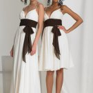 2 Straps Long Bridesmaid Dress White Chiffon A-line Prom Evening Dress Sz4 6 8 10 12+Custom