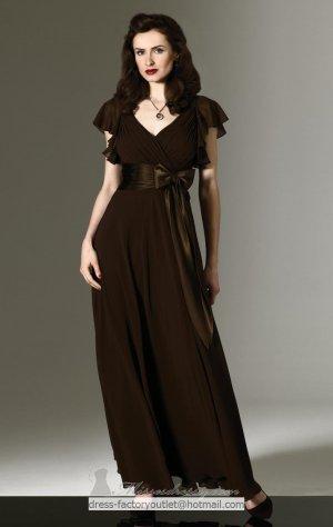 V-neck Long Bridesmaid Dress Brown Coffee Chiffon A-line Prom Evening Dress Sz4 6 8 10 12+