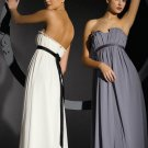 Strapless Long Bridesmaid Dress White A-line Maternity Prom Evening Dress Sz4 6 8 10 12+