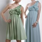 One Shoulder Long Bridesmaid Dress Blue Green Chiffon Maternity Prom Evening Dress Sz4 6 8 10 12+