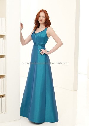 MAQ5 A-line Round Neck Long Bridesmaid Dress Teal Turquoise Blue Pleated Bridal Evening Dress