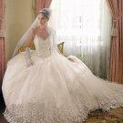 A-line White Lace Ball Gown Thin Straps Bodice Bridal Wedding Dress Sz4 6 8 10 12 14+Custom