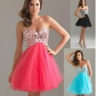 Blue Pink Red Bridal Evening Cocktail Dress Short Strapless Mini Prom Party Gown Sz 24 6 8 10+