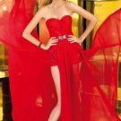 Sexy Red Chiffon Evening Cocktail Dress Strapless Long Prom Party Dress Sz2 4 6 8 10+