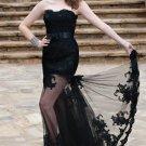 Sexy Black Lace Bridal Gown Strapless Wedding Dress Mermaid Bridal Ball Gown Sz 2 4 6 8 10 12+
