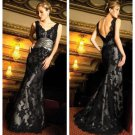 Black Lace Bridal Gown V-neck Wedding Dress A-line Bridal Evening Ball Gown Sz 2 4 6 8 10 12+