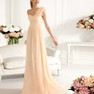 One Shoulder Long Bridesmaid Dress Apricot Chiffon A-line Prom Evening Dress Sz4 6 8 10 12+