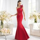 One Shoulder Long Bridesmaid Dress Red Satin Mermaid Prom Evening Dress Sz4 6 8 10 12+