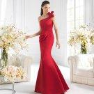 One Shoulder Long Bridesmaid Dress Red Satin Mermaid Prom Evening Dress Sz4 6 8 10 12+