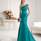 One Shoulder Long Bridesmaid Dress Teal Blue Satin Mermaid Evening Dress Sz4 6 8 10 12+