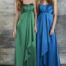 Strapless Long Bridesmaid Dress Teal Green Blue Satin Empire Maternity Evening Dress Sz4 6 8 10 12+
