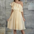 One Shoulder Bridesmaid Dress Cream Yellow Chiffon Short Party Prom Evening Dress Sz4 6 8 10 12+