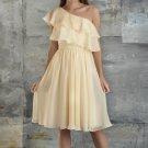 One Shoulder Bridesmaid Dress Cream Yellow Chiffon Short Party Prom Evening Dress Sz4 6 8 10 12+
