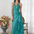 Halter Long Bridesmaid Dress Teal Blue Taffeta Wedding Evening Dress Sz4 6 8 10 12 14 16+