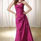 Strapless Long Bridesmaid Dress Ruffles Purple Fuchsia Taffeta Evening Dress Sz4 6 8 10 12 14 16+