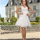 Little White Lace Bridal Wedding Dress V-neck Short Evening Prom Gown Sz4 6 8 10 12 14+
