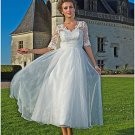 Mid Sleeve White Lace Bridal Wedding Dress V-neck Tea Length Evening Prom Gown Sz4 6 8 10 12 14+