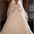 Princess Strapless Ruffled Champagne Lace Wedding Ball Gown Bridal Dress Sz4 6 8 10 12 14+Custom