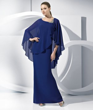 Corset Evening Prom Dress A-line Royal Blue Chiffon Mother of the Bride Groom Dress Free Shawl