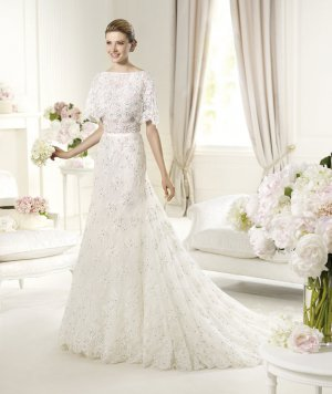 Mid Sleeve White Lace Wedding Dress Luxury Bridal Evening Prom Dress Sz 2-16+Custom