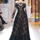 Champagne Black Lace Long Sleeve Bridal Wedding Dress A-line Bridal Evening Prom Gown Sz2-16+