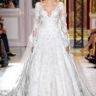 2013 New White Lace Wedding Dress A-line Long Sleeves V-neck Bridal Dress Gown Sz 2-16+Custom
