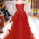 A-line Red Organza Lace Wedding Dress Strapless Bridal Gown Sz2 4 6 8 10 12 14 +Custom