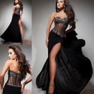 Sexy Black Chiffon Bridal Evening Dress Front Slit Jeweled Bodice Prom Dress Gown Sz 4 6 8 10 12 14+