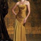 Strapless Evening Dress Gold Silk Chiffon Prom Dress Mother of the Bride Groom Dress