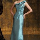One Shoulder Evening Dress Blue Taffeta Green Prom Dress Mother of the Bride Groom Dress