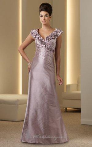 V-neck Evening Dress Light Lavender Taffeta Prom Dress Mother of the Bride Groom Dress