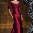 V-neck Evening Dress Burgundy Red Lace Prom Dress Mother of the Bride Groom Dress