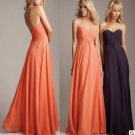 4 Pcs Free Shipping Evening Dress Prom Dress Long Coral Blue Chiffon Bridesmaid Dress Sz 2-16+Custom