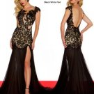 Sexy Black Red Chiffon Lace Slit Bridal Evening Party Cocktail Prom Dress Gown Sz 4 6 8 10 12 14+