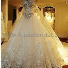 Strapless White Ivory Lace Tulle Rhinestones  A-line Bridal Wedding Dress Gown Sz 2-16+Custom