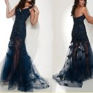 Sexy Navy Blue Lace Sequins Bridal Evening Party Cocktail Prom Dress Gown Sz 4 6 8 10 12 14+