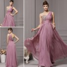 One Shoulder Purple Pink Chiffon Evening Dress Prom Party Cocktail Bridal Bridesmaid Dress Sz2-16+