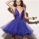 2 Colors Red Blue Taffeta Tulle Bridal Evening Dress Short  Prom Cocktail Dress Sz6 8 10 12 14+
