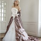 A-line Brown White Lace Wedding Dress Strapless Bridal Dress Ball Gown Sz 4 6 8 10 12 14+Custom