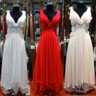A-line Ivory White Red Wedding Gown V-neck Bridal Wedding Dress Prom Evening Dress Sz4 6 8 10 12 14+