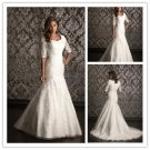 Mid Sleeves Custom Ivory White Lace Chiffon Wedding Dress Sz2-16+