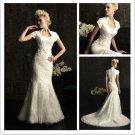 Short Sleeves Custom Ivory White Lace Wedding Dress Sz2-16+