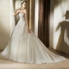 Strapless Ivory Organza Wedding Dress Beaded Bridal Evening Prom Dress Sz 2-16+Custom