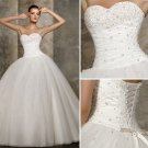 A-line White Organza Ball Gown Strapless Bodice Bridal Wedding Dress Sz4 6 8 10 12 14+Custom