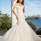 White Ivory Bridal Wedding Gown Off Shoulder Organza Memaid Wedding Dress Sz4 6 8 10 12 14+