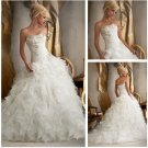 Strapless Ivory Organza Wedding Dress Cascading Ruffles Bridal Wedding Gown Sz 2-16+Custom