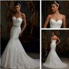 2013 New Ivory White Lace Bridal Wedding Dress Strapless Mermaid Wedding Gown