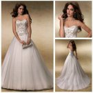 Strapless Ivory Organza Wedding Dress Gown Embroidery Beaded Bridal Dress Sz 2-16+Custom