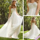 A-line White Chiffon Wedding Dress STrapless Bridal Evening Prom Dress Sz6 8 10 12 14+Custom