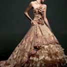 A-line Brwon Organza Wedding Dress Strapless Bridal Dress Quinceanera Ball Gown Sz2 4 6 8 10 12 14+